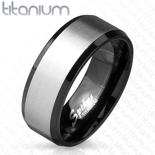 Solid Titanium Black IP Interior Beveled Edge Two Tone Ring