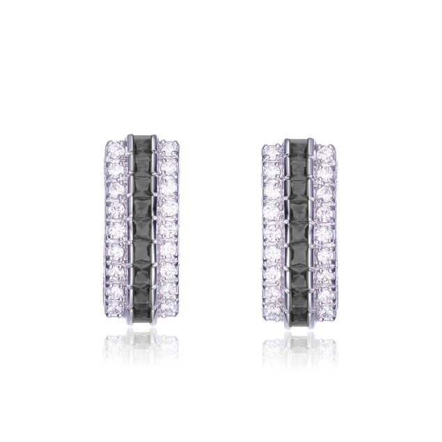 Sterling Silver Rhodium Plated Black And C.Z. Three Row Classic Earrings