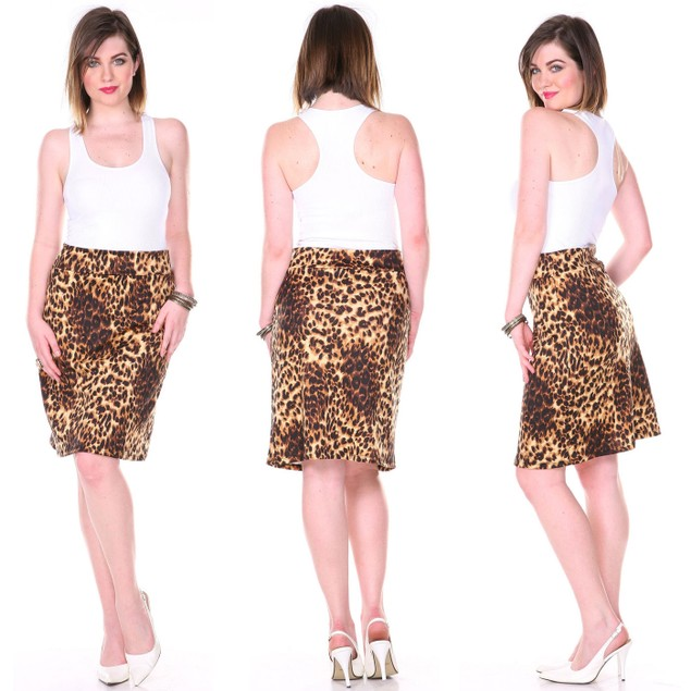 Assorted Print Pencil Skirt with Fold Over Waist