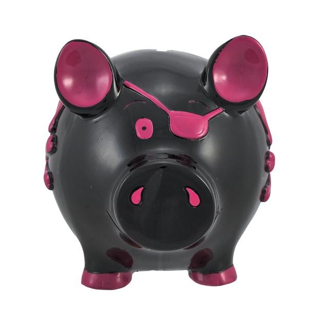 Black Pirate Pig Pink Skull Crossbones Piggy Bank Toy Banks