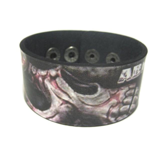 Abraham Graphic Tribal Skull Leather Bracelet Mens Leather Bracelets