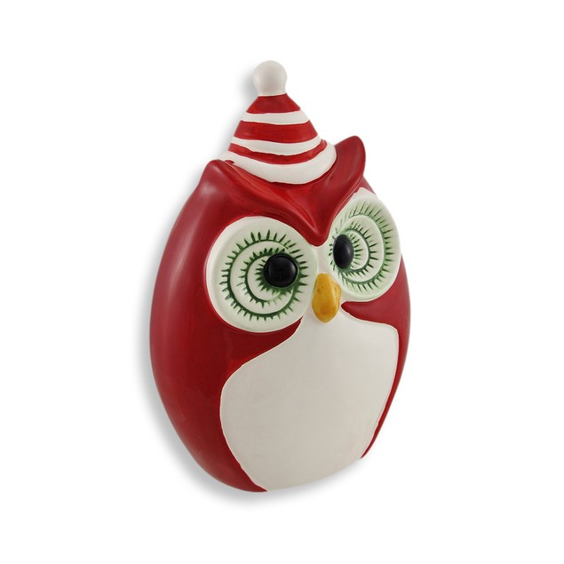 Red White And Green Ceramic Winter Owl Statue Statues