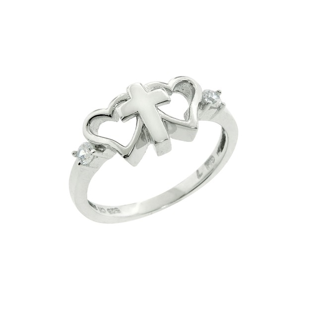 Sterling Silver & CZ Heart and Cross Ring