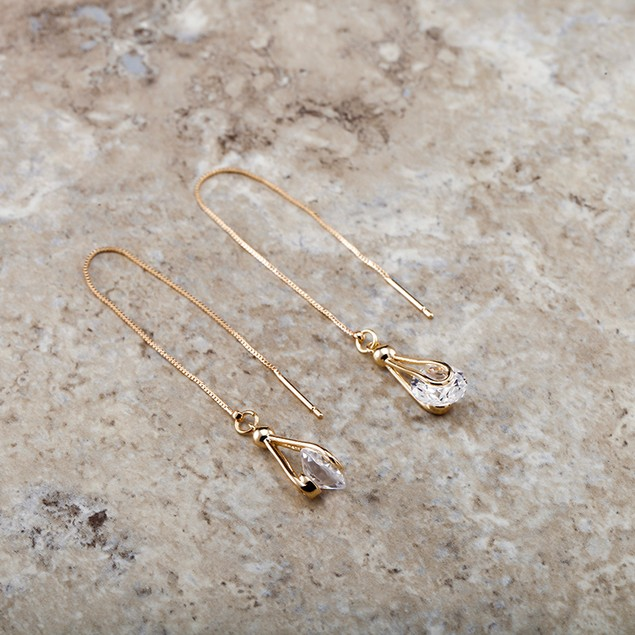18kt Yellow Gold Plated Cubic Zirconia Tear Drop Earrings