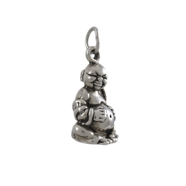 Sterling Silver 3D Happy Buddha Pendant Deity Womens Pendants