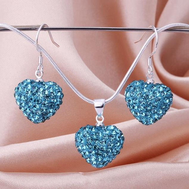 Austrian Stone Solid-Pave Heart Earring and Necklace Set - Solid Teal Blue