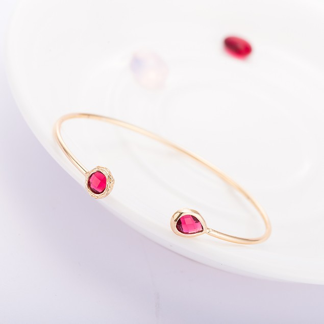 Gold Plated Duo Ruby Gem Open Ended Bangle
