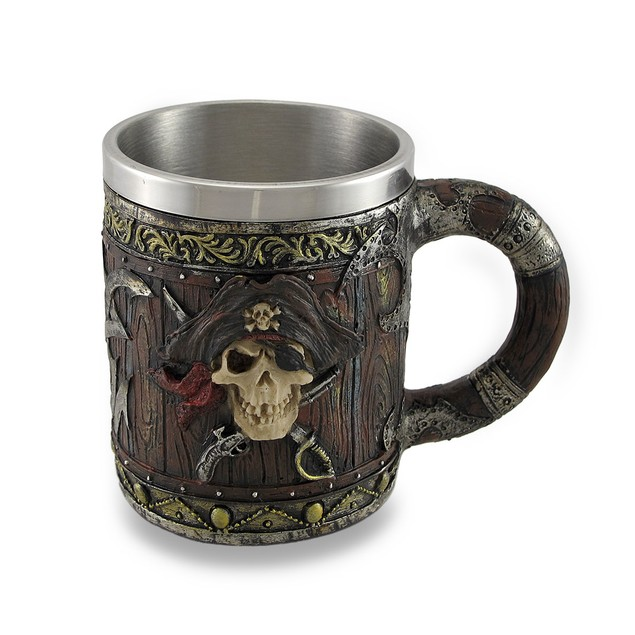 Wood Look Pirate Skull Drinking Tankard Gothic Beer Mugs