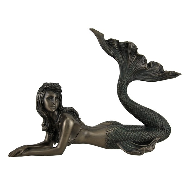 Lounging Mermaid Of Gazing Gulf Lustrous Bronze Statues