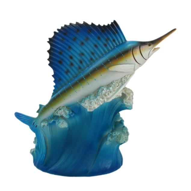 Hand Painted Blue Sailfish Fish Wine Bottle Holder Tabletop Wine Racks