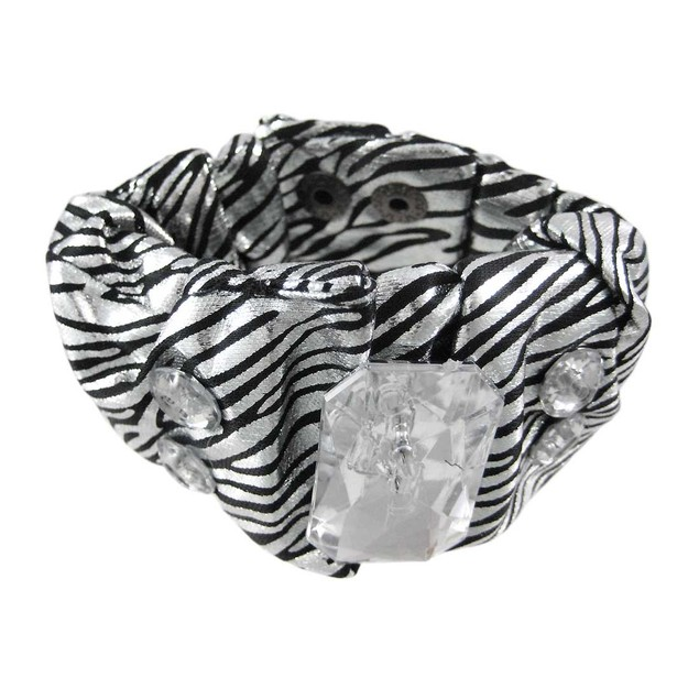 Metallic Silver Zebra Print Fabric Crystal Womens Cuff Bracelets