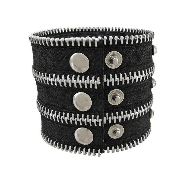 Black Nylon Rhinestone Zipper Strip Wristband Womens Cuff Bracelets