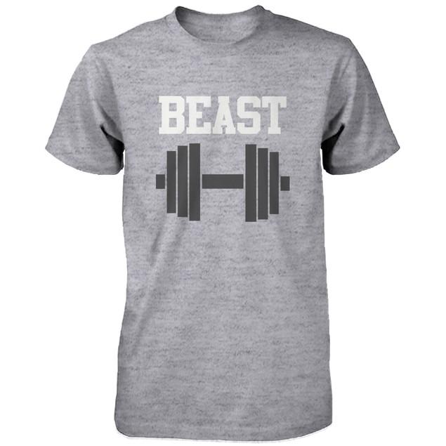 Matching Couple Shirts - Beauty and Beast Grey Cotton Graphic T-shirts