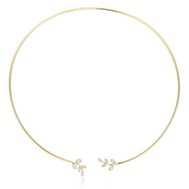 Open Wire Choker Cubic Zirconia Necklace