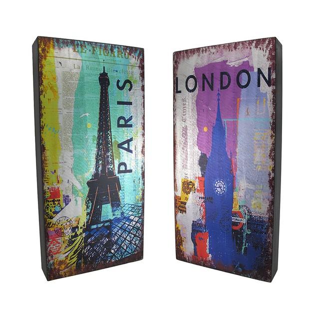 Metallic London Postcard Print Foil On Wood Wall Decorative Plaques