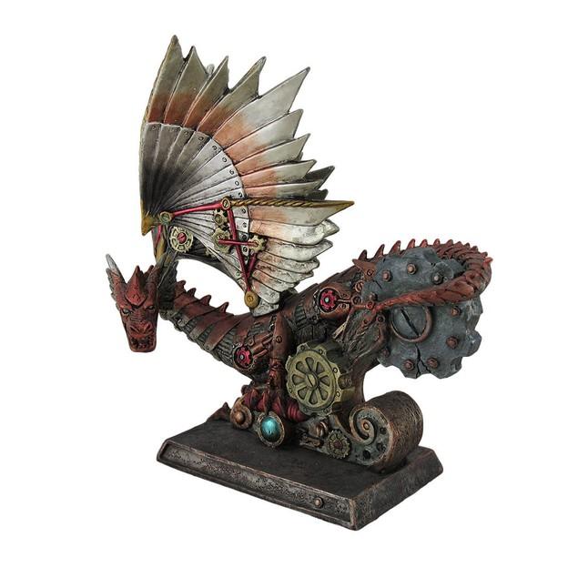 Metallic Mechanical Steampunk Dragon Statue Statues