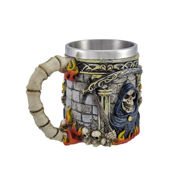 Grim Reaper Skulls And Flames Death Coffee Mug Novelty Coffee Mugs