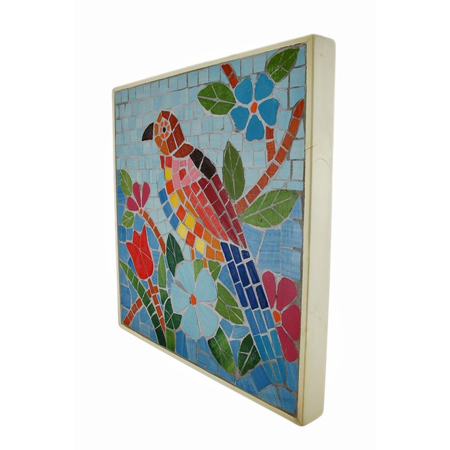 Tropical Mosaic Tile Parrot Wall Plaque Decorative Plaques