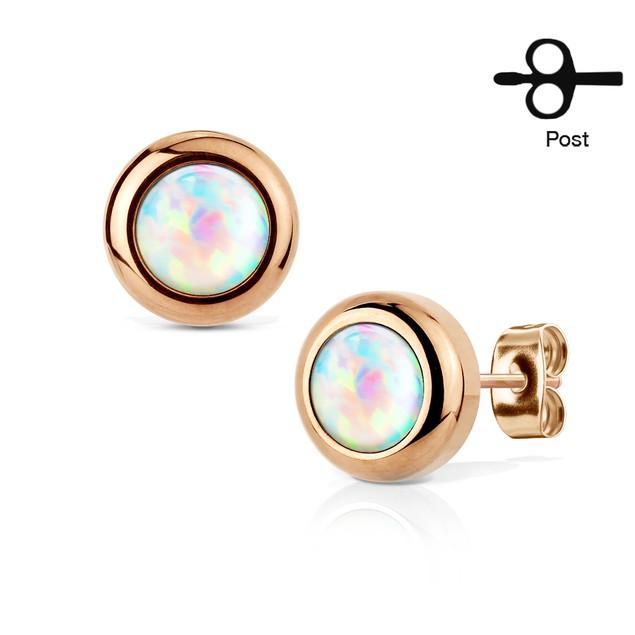 Stainless Steel Genuine Opal Gemstone Stud Earrings - Assorted Colors