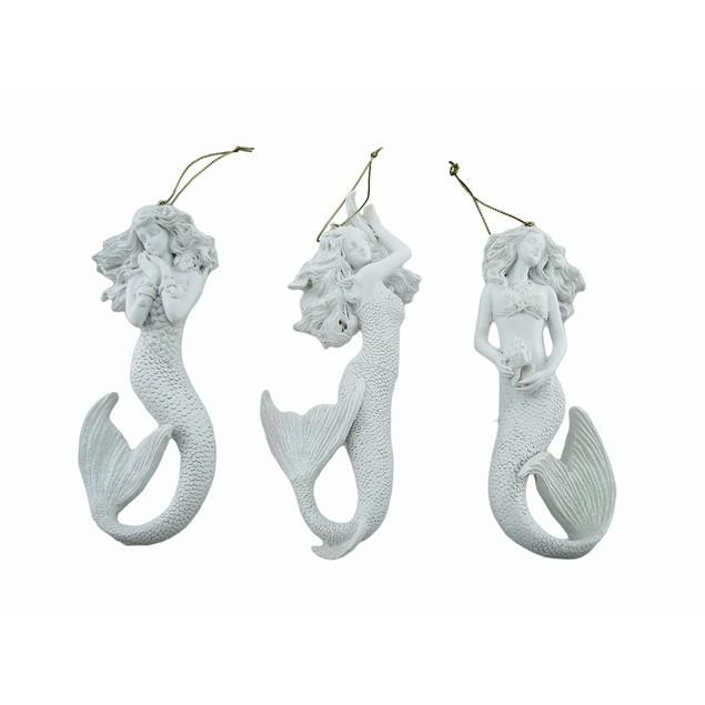 Set Of 3 Glimmering White Mermaid Ornaments Christmas Ornaments