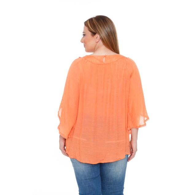 White Mark Plus Size 'Anabel' Crochet Bell Sleeve Blouse