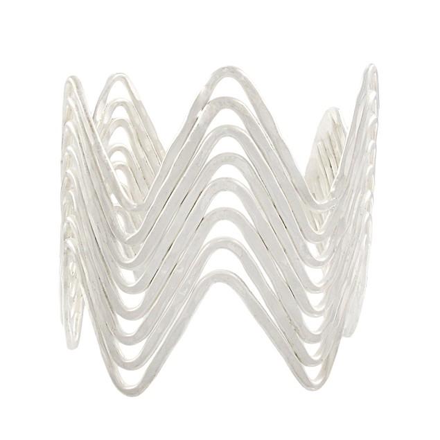 2 1/4 Inch Wide Wavy Silvertone Finish Cuff Womens Cuff Bracelets