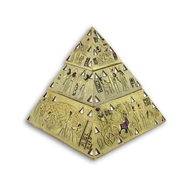 Ancient Egyptian Golden Pyramid Double Trinket Box Decorative Boxes