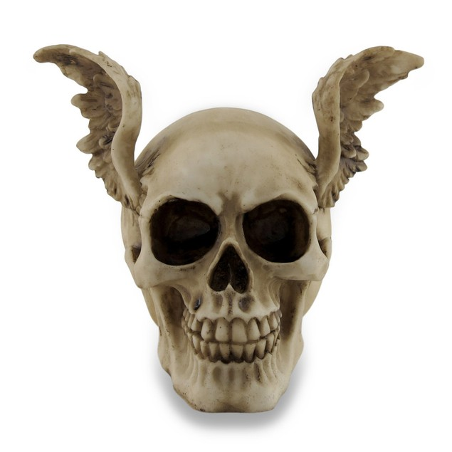 Gothic Angel Winged Sinister Skull Statue Figure Statues