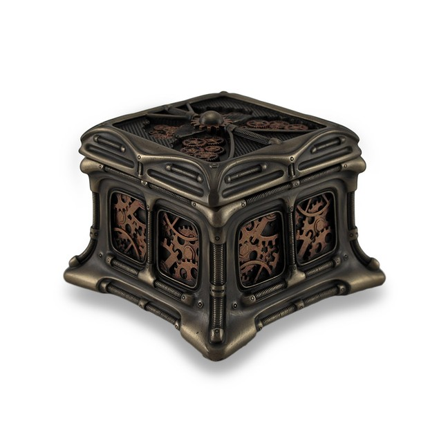 Steampunk Butterfly Bronze Finish Trinket Box Decorative Boxes