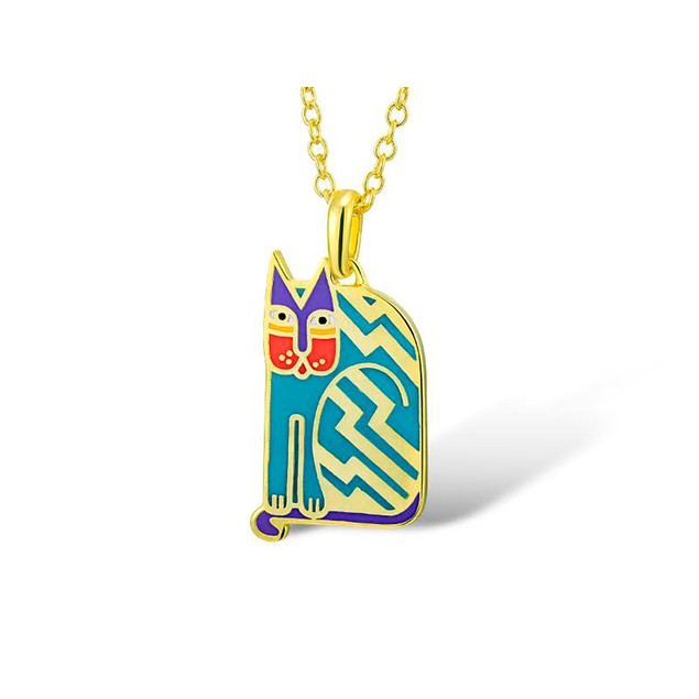Laurel Burch Aztec Cat Blue Cloisonne Pendant W/ Womens Pendant Necklaces