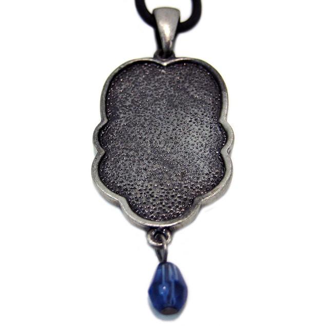 Pewter Celtic Knotwork Teardrop Pendant Blue Stone Mens Pendant Necklaces