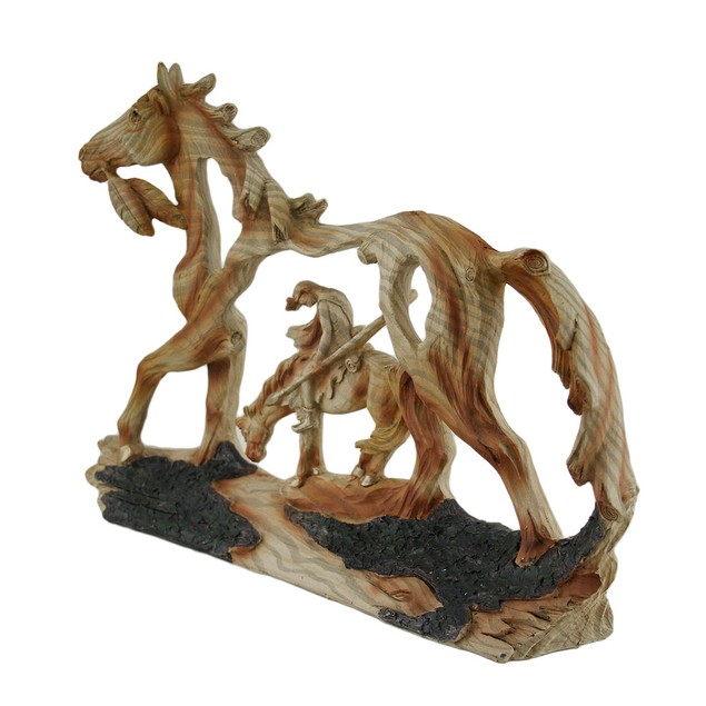 End Of The Trail Classic Western Wood Look Statue Statues