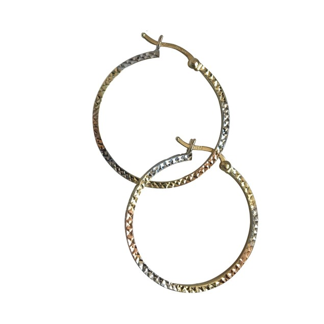 Tri Colored Hammered Earrings Crafted 14k Gold