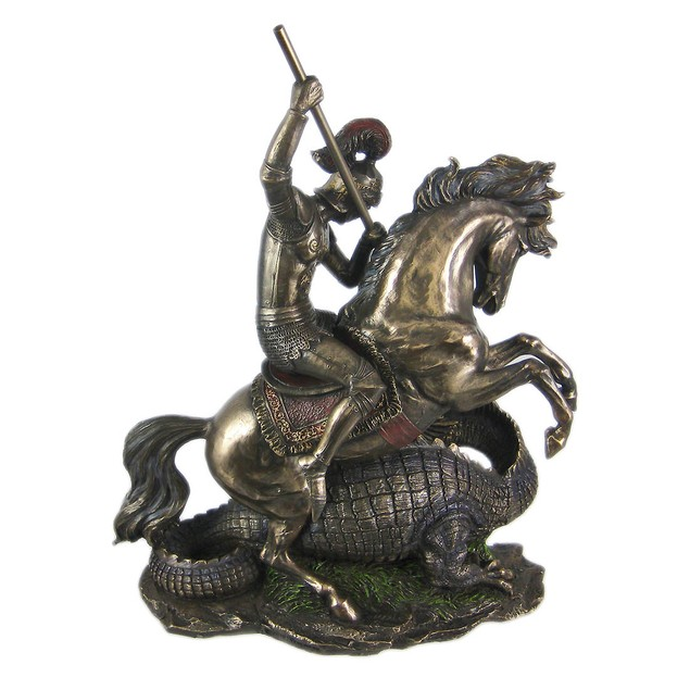 Bronze St. George The Dragon Slayer Statue Statues