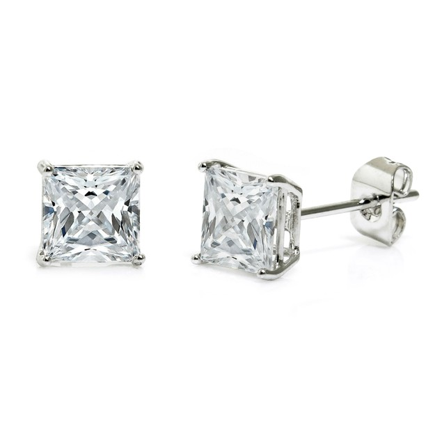 Cubic Zirconia 6mm Princess Stud Earrings