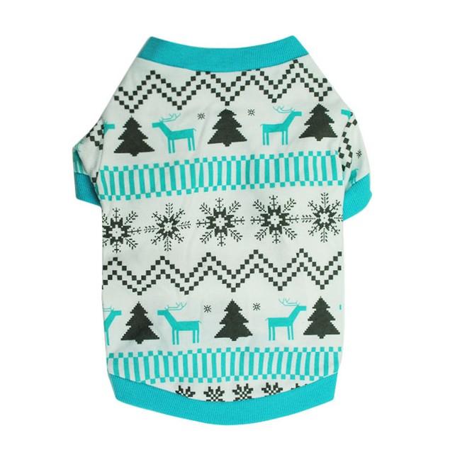 Christmas Pet Dog Clothes Printed Snow Fawn Interlock Shirt