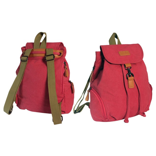 Canvas Backpack with Zipper Pocket for Phone or Tablet Access