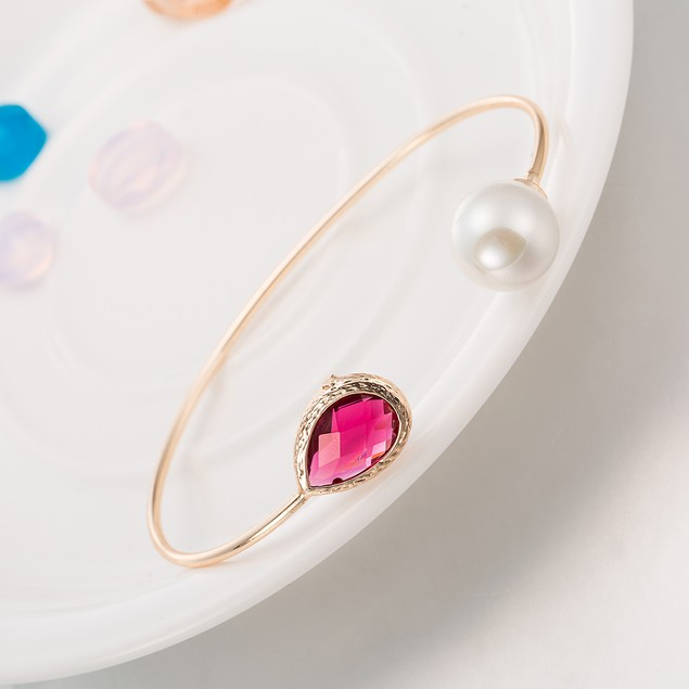 Gold Plated Vivid Coral & Pearl Open Ended Bangle