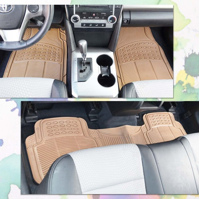 Zone Tech 3 Row 4 Piece Beige Universal Rubber All Weather Car Floor Mats