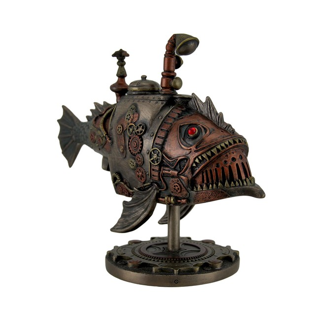 Hand Painted Steampunk Submarine Sci-Fi Fantasy Statues