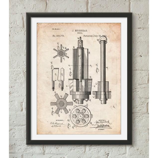 Mining Drill Tool 1891 Patent Poster