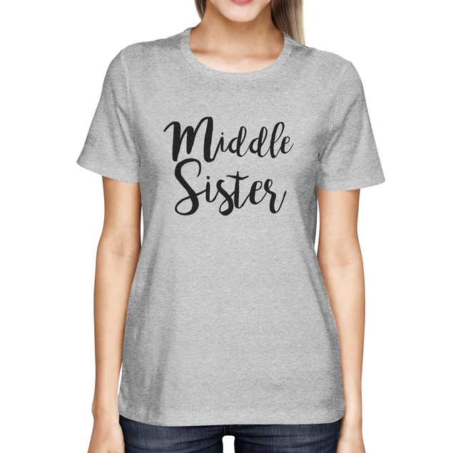 Middle Sister Lady's T-Shirt Heather Grey Cotton Basic Tee Gift For Sister