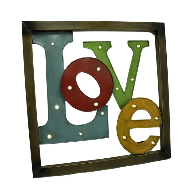 Colorful Led Lighted Metal Framed Love Wall Wall Sculptures