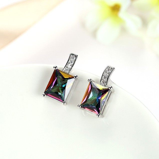 Crystal 18K White Gold Plated Filled Mystic Topaz Stud