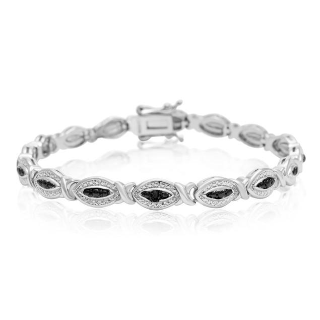 Black Diamond Accent Hugs and Kisses Bracelet