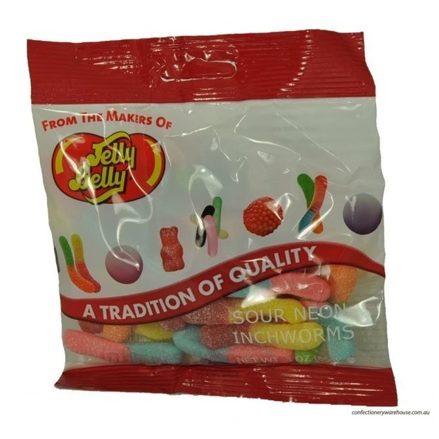 Jelly Belly Sour Neon Inchworms Candy 3oz Bag