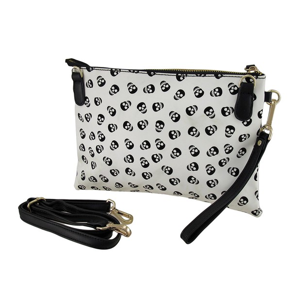 Skull Print Clutch Purse W/Removable Strap And Womens Clutch Handbags