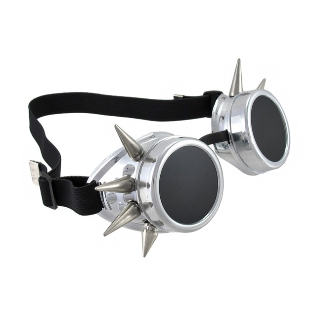 Cyberpunk Silver Spiked Decorative Goggles Cyber Mens Costume Accessories