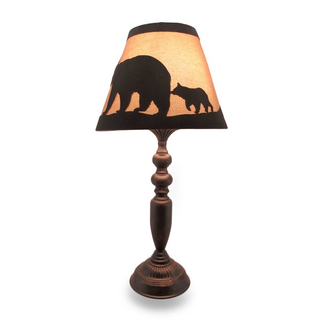 Distressed Finish Metal Lamp W/Matching Black Bear Table Lamps