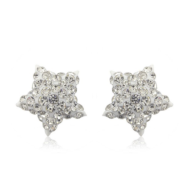Sterling Silver Sparkling Crystal 10mm Stud Earrings - Star White